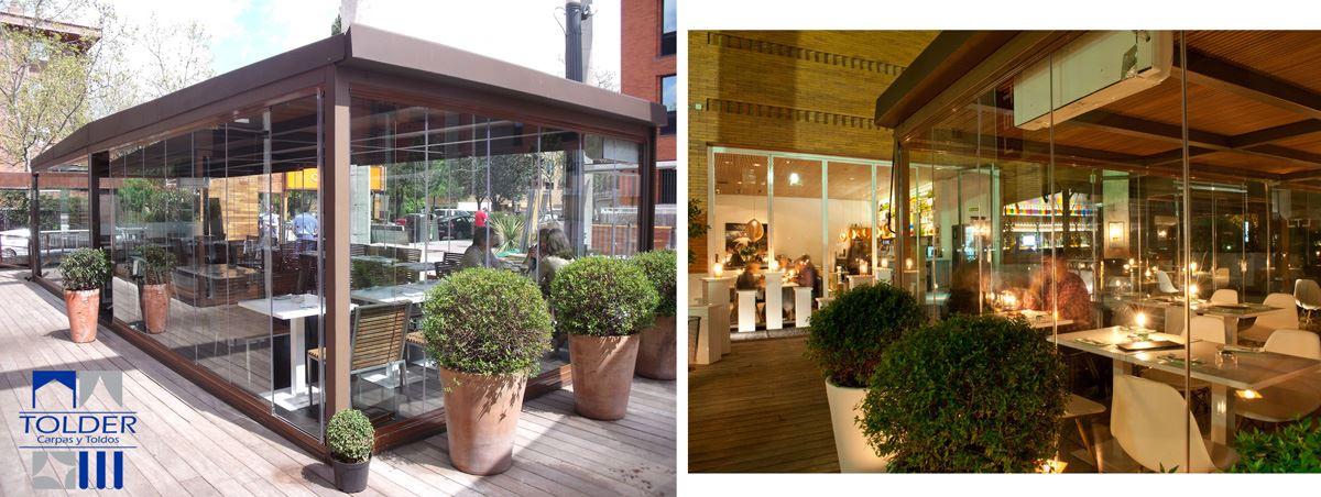 Pérgola acristalada para el Restaurante Lateral en Arturo Soria, Madrid.