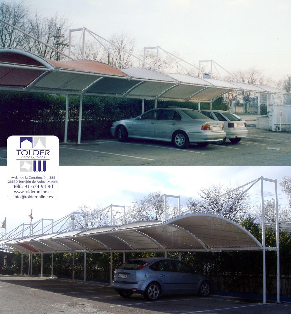 Exposición de parking con diferentes tejidos en nuestra sede de Tolder.